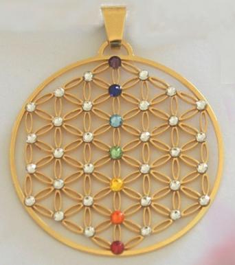 cooltime Porte-cl/és rond en acier inoxydable avec pendentif fleur de vie Mandala style 1 Argent/é - 20191107