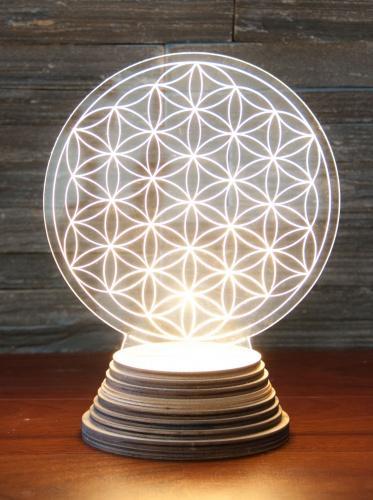 Lampe Ambiance Fleur De Vie 22cm en Bois Led Acrylique