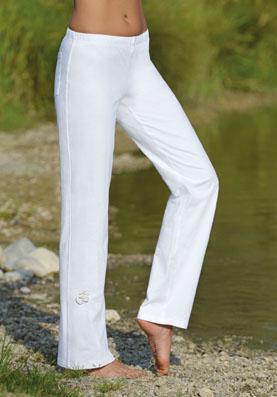 Pantalon pour Yoga unisexe coton bio blanc taille L