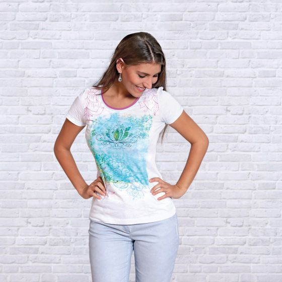 T-Shirt Fleur de Lotus coton bio-bambou quartz rose de Nature's Design®