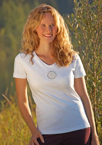 T-SHIRT Fleur de Vie coton bio blanc brodé or argent