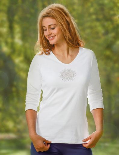 T-Shirt Fleur de Vie Lotus,blanc 100 % coton bio Taille XXL